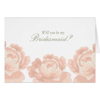 Erröten rosa Rosen-Brautjungfern-Karten Karte