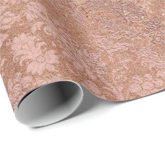 Erröten rosa Rosen-Goldblumenpulver-Blumendamast Geschenkpapier