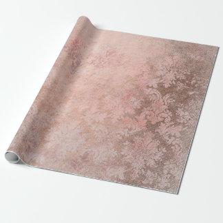 Erröten rosa Rosen-Goldblumenpulver-Grungy Damast Geschenkpapier