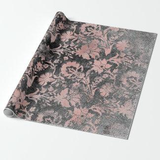 Erröten rosa Rosen-Goldblumenpulver-Grungy Geschenkpapier