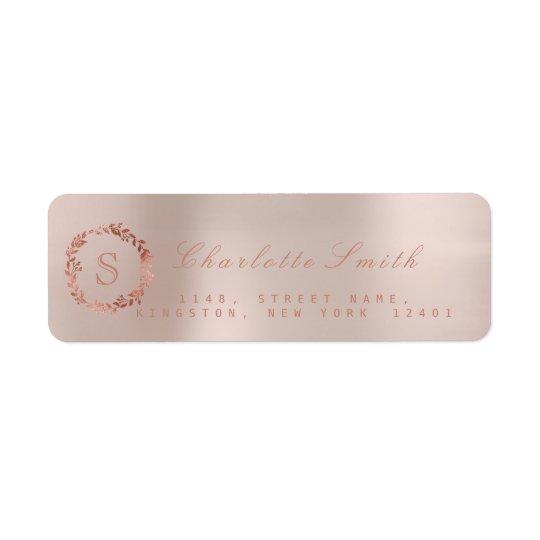 Erröten rosa Rosen-GoldWreath VIP-Monogramm UAWG