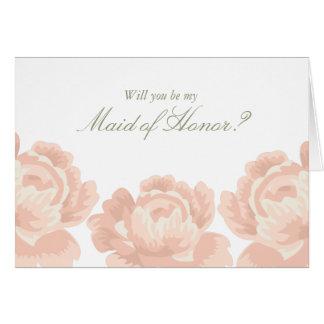 Erröten rosa Rosen-Trauzeugin-Karten Karte