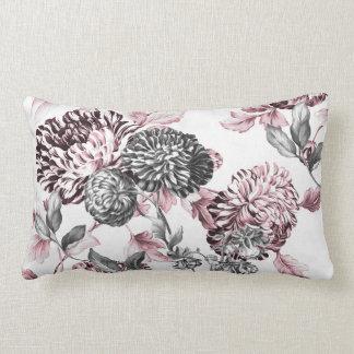 Erröten rosa schwarzes u. weißes botanisches Toile Lendenkissen