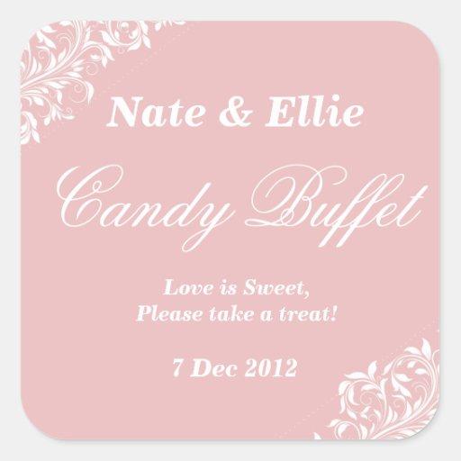Erröten rosa Süßigkeitsbuffet Aufkleber