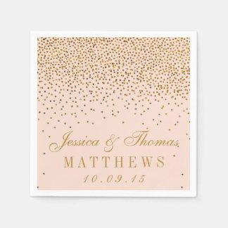 Erröten Rosa u. Goldconfetti-Hochzeit Papierservietten