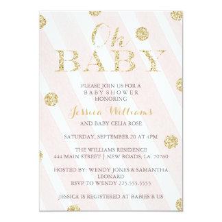 Erröten Rosa-und GoldBabyparty-Einladungen 12,7 X 17,8 Cm Einladungskarte