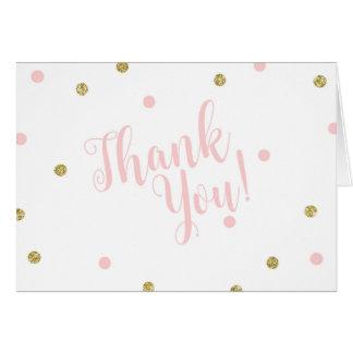 Erröten Rosa und GoldGlitzer danken Ihnen Karten