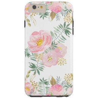 Erröten Rosa und Goldwatercolor-Blumen Tough iPhone 6 Plus Hülle