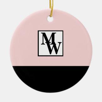 Erröten rosa und schwarzer Chic-personalisiertes Keramik Ornament