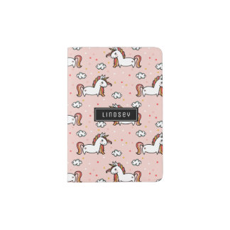 Erröten rosa Unicorn-Muster - individueller Name Passhülle