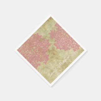 Erröten rosa Vintage mit Blumenhochzeit Serviette