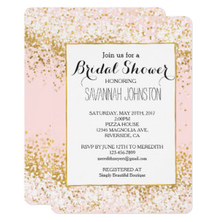Erröten rosa weißes Goldconfetti-Brautparty Karte