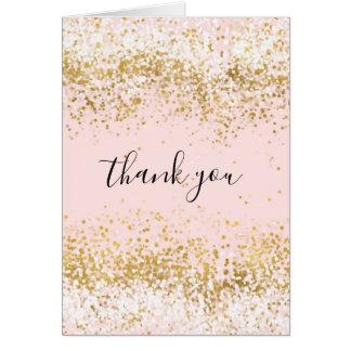 Erröten rosa weißes Goldconfetti-Schein danken Karte