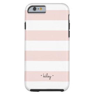 Erröten und der weiße personalisierte Streifen Tough iPhone 6 Hülle