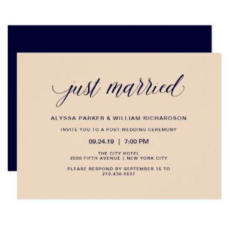 Erröten und Marine-Typografie-gerade verheiratete 12,7 X 17,8 Cm Einladungskarte