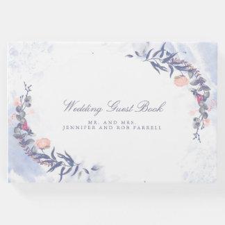 Erröten und staubige blaue Blumenhochzeit Gästebuch