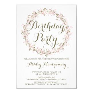 Erröten Winterwreath-Geburtstags-Party Einladung
