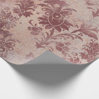 Errötet rosa Rosen-Goldblumenpulver-Grungy Kupfer Geschenkpapier