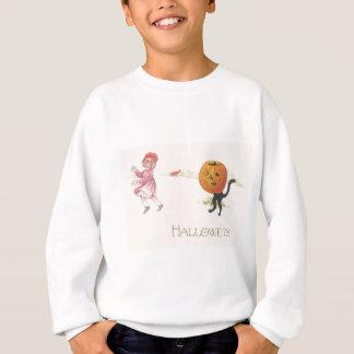 Erschrockene Mädchen-Jack O Laternen-schwarze Sweatshirt