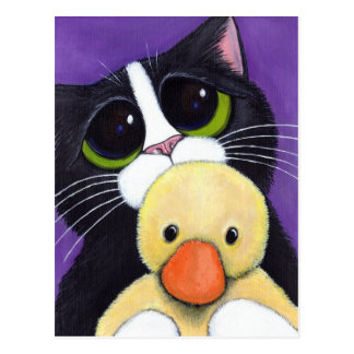 Erschrockene Smokings-Katze und knuddelige Postkarte