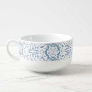 Erstaunliche blaue Wasserfarbe-Muster-Suppen-Tasse Große Suppentasse