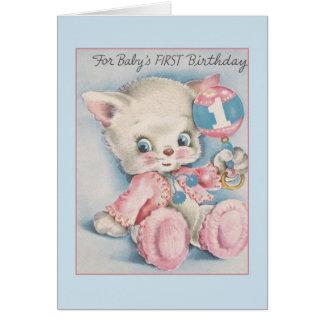 Erste der Geburtstags-Karte des Vintagen Babys Grußkarte