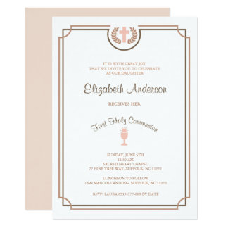 Erste die heilige Kommunions-Einladungs-beige Rosa Karte