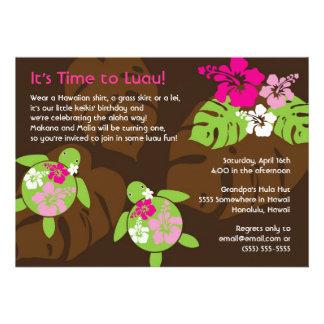Erste Geburtstag Luau Einladung für Doppelmädchen