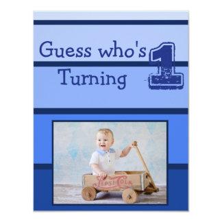 Erste Geburtstags-blaues Baby-Jungen-Party Karte