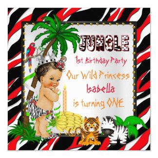 Erste Geburtstags-Dschungel-Safari-wilde Quadratische 13,3 Cm Einladungskarte