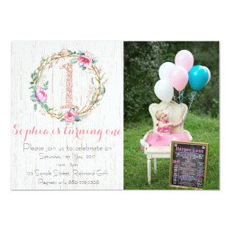 Erste Geburtstags-Einladung - Aquarell mit Blumen 12,7 X 17,8 Cm Einladungskarte