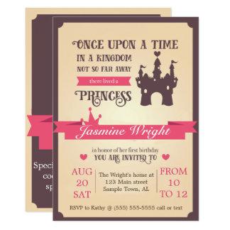 Erste Geburtstags-Einladung Prinzessin-Märchen Karte