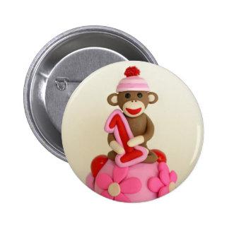 Erste Geburtstags-Mädchen-Socken-Affe-Feier Runder Button 5,7 Cm