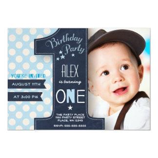 Erste Geburtstags-Party Einladungs-Jungen-Tafel 12,7 X 17,8 Cm Einladungskarte