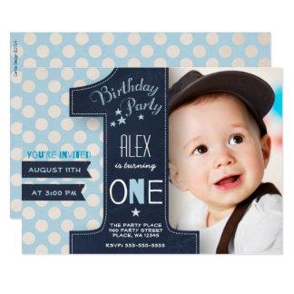 Erste Geburtstags Party Einladungs Jungen Tafel Karte