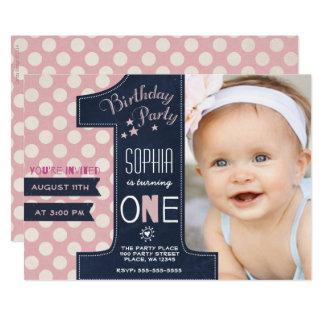 Erste Geburtstags-Party Einladungs-Mädchen-Tafel Karte