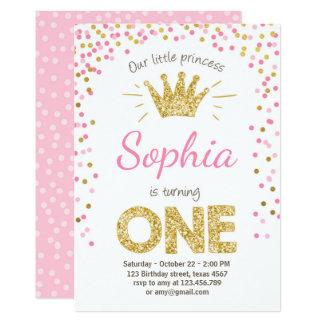 Erste Geburtstagseinladung Prinzessin Gold Pink Karte