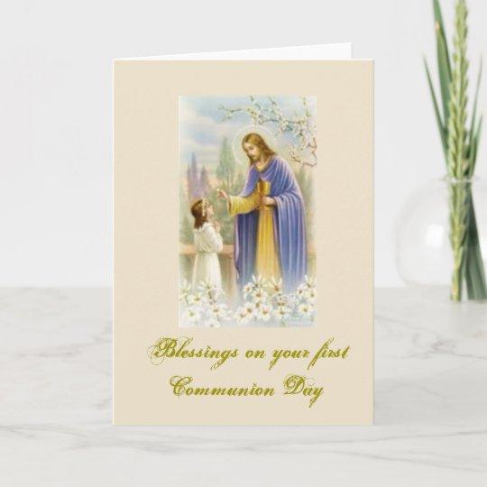 Erste Heilige Kommunion Für Glückwünsche Karte Zazzlede