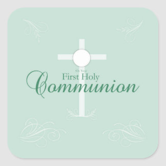 Erste heilige Kommunion, Skript weich im Grün Quadratischer Aufkleber