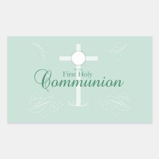 Erste heilige Kommunion, Skript weich im Grün Rechteckiger Aufkleber