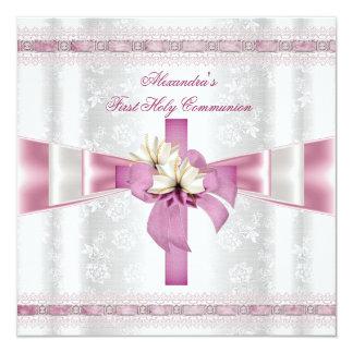 Erste heilige Kommunions-1. Quermädchen-weißes Quadratische 13,3 Cm Einladungskarte