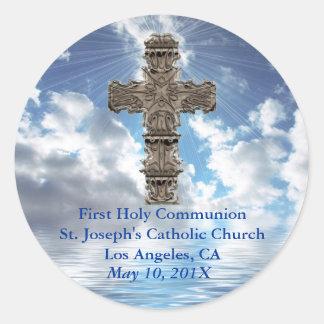 Erste heilige Kommunions-Aufkleber Runder Aufkleber