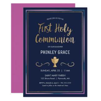 Erste heilige Kommunions-Einladung - elegant, Karte
