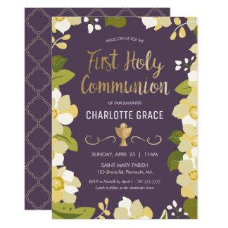 Erste heilige Kommunions-Einladung, mit Blumen mit Karte