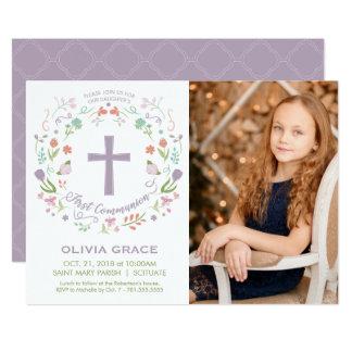 Erste heilige Kommunions-Foto-Einladung, Mädchen Karte