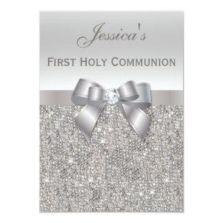 Erste heilige Kommunions-Silber-Paillette und 12,7 X 17,8 Cm Einladungskarte
