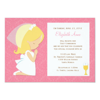 Erste Kommunions-Einladung für Mädchen 12,7 X 17,8 Cm Einladungskarte