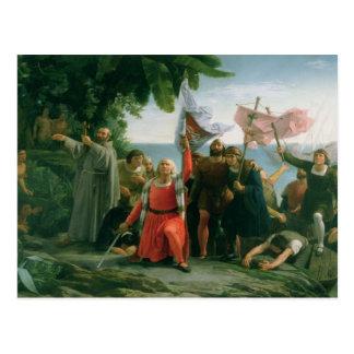 Erste Landung von Christoph Kolumbus herein Postkarte
