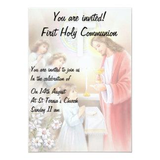 Erste Mädcheneinladung der heiligen Kommunion Karte