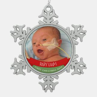 ERSTE VERZIERUNG DES BABYS SCHNEEFLOCKEN Zinn-Ornament
